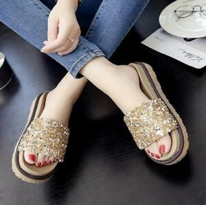 Womens Sequins Open Toe Slippers Casual Wedge Low Heels Shoes Muffin Fashion P95