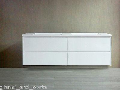 BATHROOM VANITY UNIT - 1800 mm POLYURETHANE WALL HUNG CABINET GLOSS WHITE