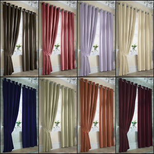 Image Is Loading ELLA PLAIN LINED SATIN RING TOP EYELET CURTAINS