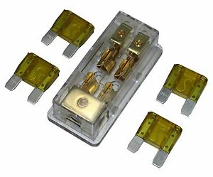 4Pcs Free 20A Fuse Maxi Fuse Holder 3 X 4Ga In 2X 8Ga Out Gold Plated