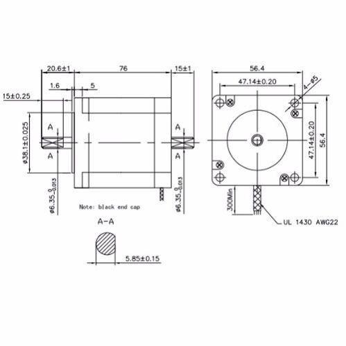 KL23H276-28-4B 1PCS NEMA23 270 OZ//IN 2.8A 1//4″ DUAL SHAFT STEPPER MOTOR