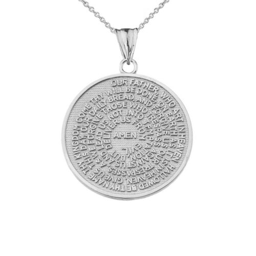 .925 Sterling Silver The Lord/'s Prayer Medallion Pendant Necklace