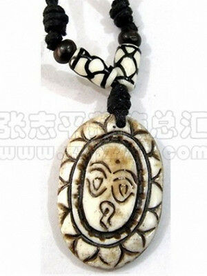 Tibetan Yak Bone Spiral Weaving Beaded Carved Buddha Eye Amulet Pendant Necklace