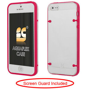 iPhone-5-5S-SE-AquaFlex-Slim-Fit-TPU-Hard-Skin-Case-Phone-Cover-Hot-Pink-Clear