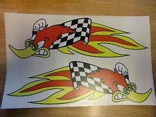 2x woody woodpecker flames stickers / decals  - Large 300mm pair.