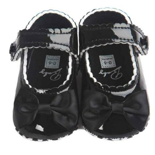 Baby Girl Bow Anti-slip Leather Christening Pram Shoes Soft Sole Sneaker FI