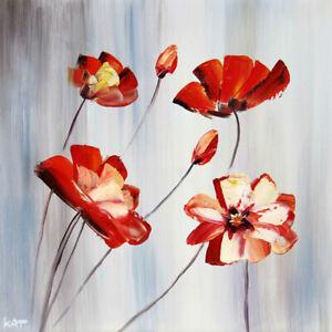 Détails Sur Tableau Abstrait Tableau Peinture Huile Fleur Moderne Art Déco Murale Châssis