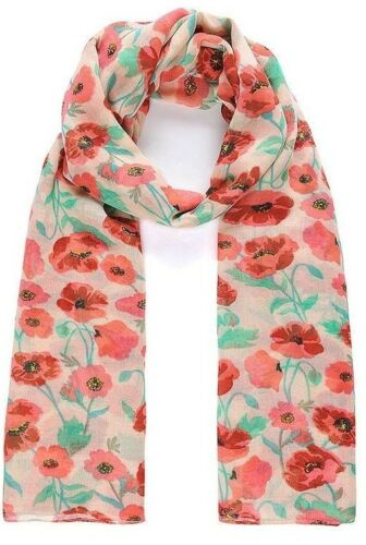 Striking Ladies Red Green Beige Poppy Floral Print Pashmina Scarf Wrap Sarong