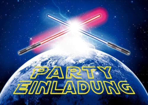 STAR WARS Einladungen: spacige Weltraum-Einladungskarten mit Lichtschwertern