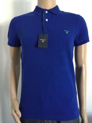 3 * Gant Contrast Collar bouffigue SS Rugger Poloshirt NOUVEAU Col Ink Blue T S