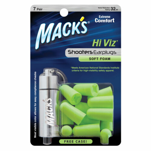 Mack/'s en Mousse Souple Tir Earplugs-Macks tireurs Hi Viz bouchons d/'oreille 7 PAIRES