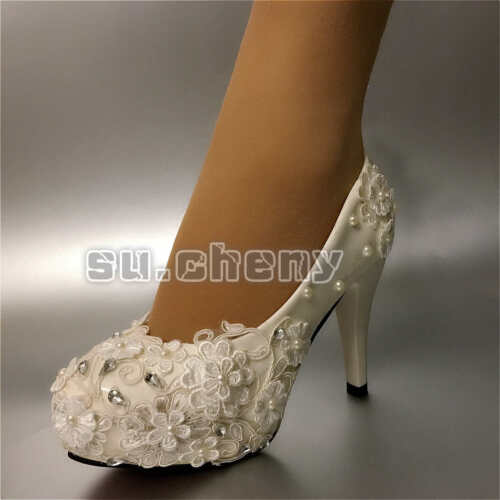 su.cheny White lace pearls rhinestone flats low high heels Wedding Bridal shoes