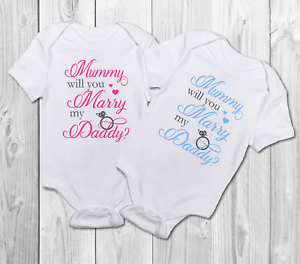5763779aa Mummy will you marry daddy Baby Grow Bodysuit Vest,proposal | eBay