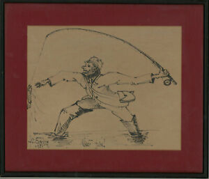 Framed 1951 Pen and Ink Drawing - What Fun!