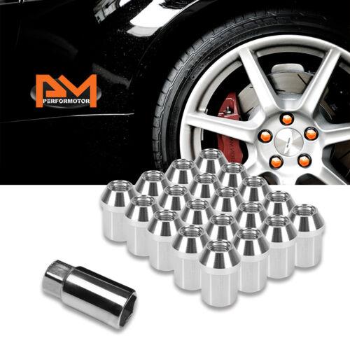 M12X1.5 Silver JDM Closed End Acorn Hex Wheel Lug Nuts+Extension 25mmx35mm 20Pc