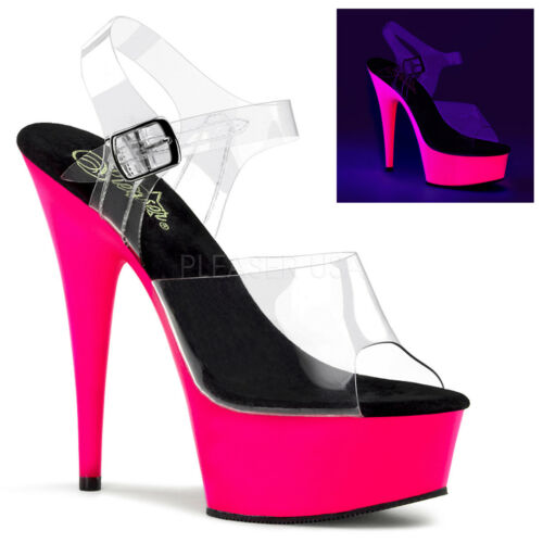 Pleaser Delight-608uv Pink Uv Reactive Platform Pole Dancing Sandals Shoes Clear/neon