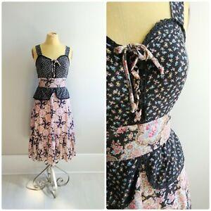 Small-Vintage-Prairie-Dress-1970s-Womens-Boho-Peasant-Summer-Gown