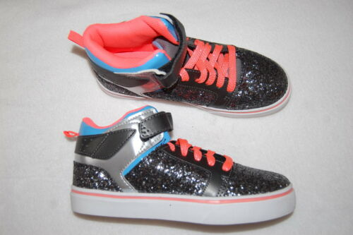 Girls Athletic Shoes BLACK SILVER GLITTER MID RISE HIGH TOPS Neon Orange Blue 1