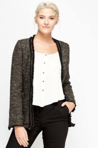 New Womens Studded Frayed Trim Speckled Jacket Blazer