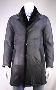 NWT-New-KITON-39-100-Black-Leather-w-Chincilla-Fur-Lining-3-4-Coat-40-M