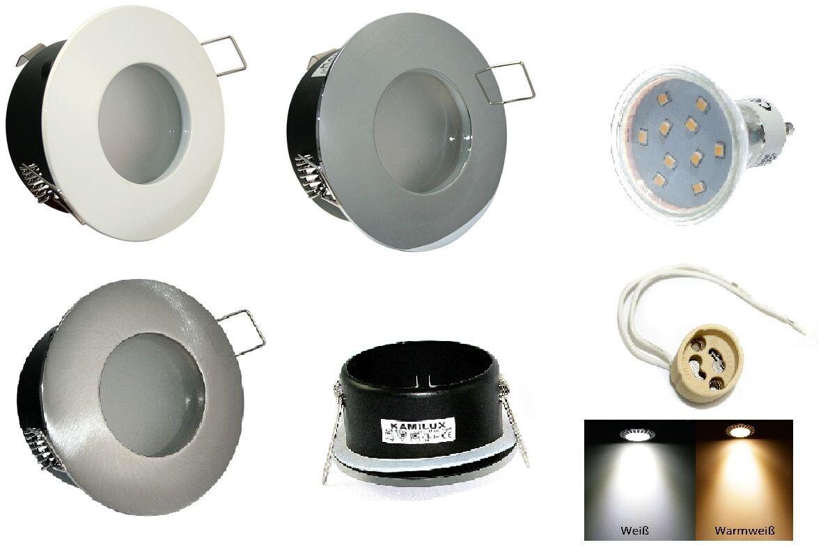 Waschräume Decken Einbau Strahler AQUARIUS 230V 10er SMD Led 3W = 25W GU10 IP54