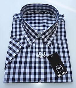 d60b592d709 Relco Mens Black and White Gingham Check Print Shirt Short Sleeve ...