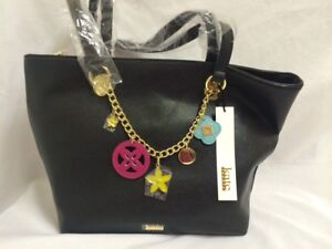 cf2c9ee3f515 KATE LANDRY BLACK CHARM ITEM TOTE BAG - PURSE GOLD CHAIN WITH CHARMS ...
