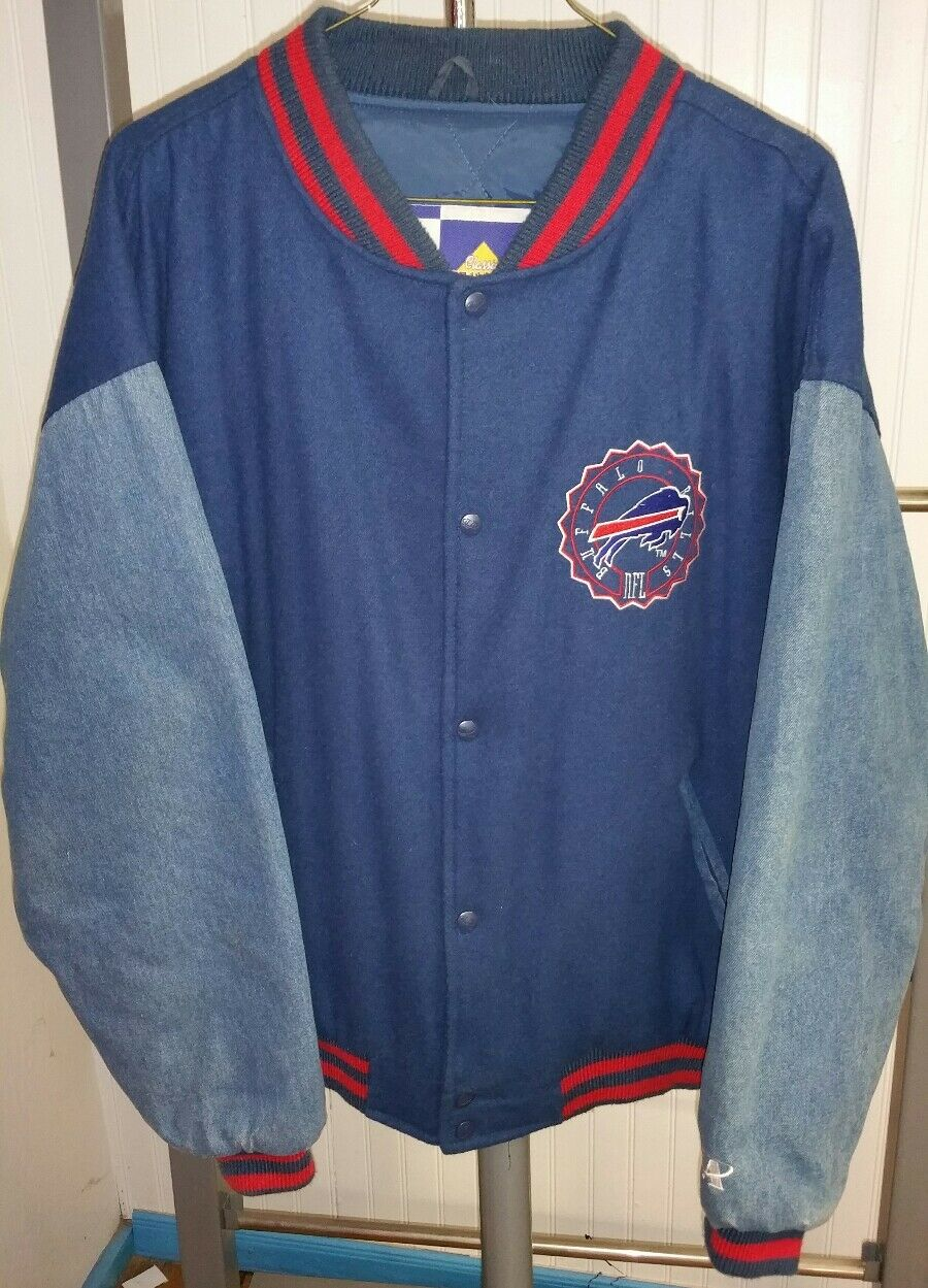 VTG Buffalo Bills NFL Logo Athletic Classic Team Varsity Denim Sleeves Jacket XL