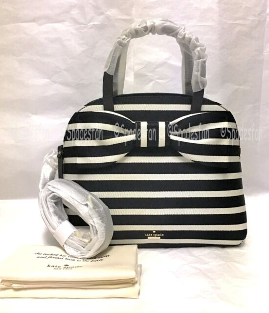 5543d92e17e8 Kate Spade Pxru8445 Olive Drive Stripe Lottie Satchel Purse Black Natural