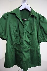 The-Limited-Cotton-Blend-Green-Pleated-Short-Sleeve-Top-Size-Medium