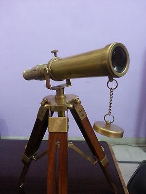 Vintage Solid Brass Nautical Telescope With Wooden Tripod Desk Telescope Decor