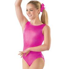 NEW Dance Gymnastics Solid Foil Metallic Tank Racer Leotard Child or Adult