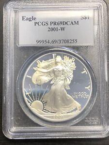 Blue Label 2001 W 1oz Silver Eagle Proof PCGS PR69 DCAM
