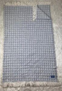 USA-Pendleton-Pure-Wool-Knit-Blue-Cream-Decor-Warm-Throw-Blanket-with-Fringe