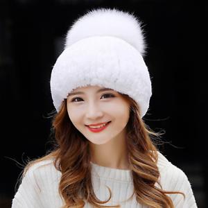 7c3c83190d83b Women Winter Fashion Real Rex Rabbit Fur Knitted Ski Hat Fox Fur ...