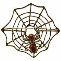 Baltic Amber And Sterling Silver 925 Spiderweb Brooch Pin Jewellery Jewelry