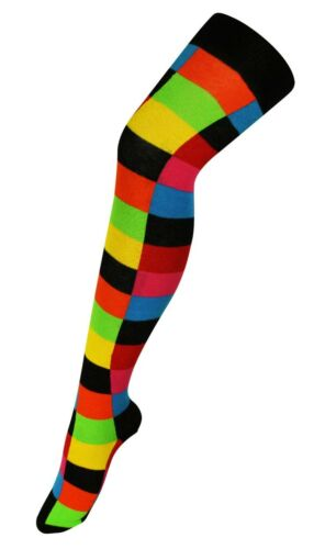 Playing Cards Ladies OVER KNEE Thigh High Long Socks Black Multi Colour