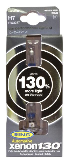 Ring RW3377 Xenon 130/% Brighter H7 477 12v 55w Car Headlight Headlamp Bulbs Pair