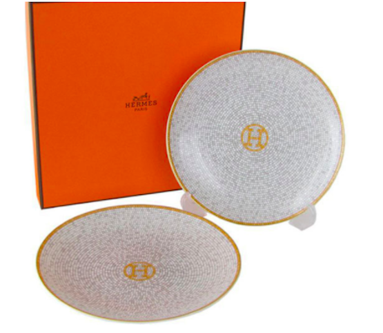 HERMES HERMES HERMES Porcelain Mosaique Bread Butter Plate set Tableware Ornament 026012P2 New ca9995