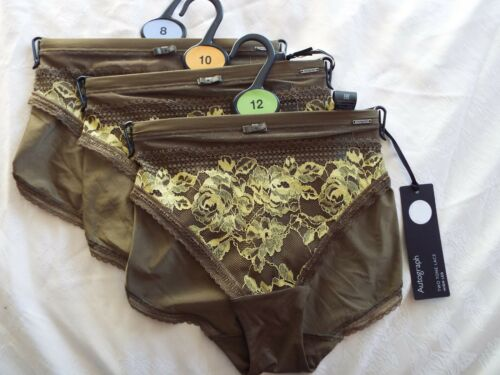NEW M/&S Autograph Green TwoTone Lace High Leg Knickers Pants Size 8 10 12 RRP£10