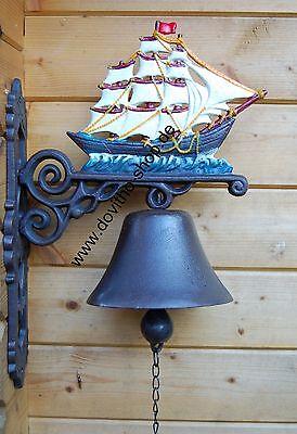 FleißIg Schwere Wandglocke, Schwere Glocke Motiv Segelschiff, Edel Handbemalt 42 Cm
