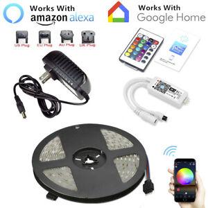 16-4ft-RGB-150LED-Alexa-Smart-Home-WiFi-Wireless-LED-Strip-Lights-Neon-Light-Kit