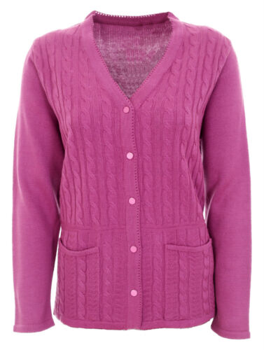 New Womens Cardigans Ladies Cable Knit Long Sleeve Aran Type Plus Sizes 12-20