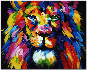 Hand painted impressionist lion oil painting colorful for Cool paintings for sale
