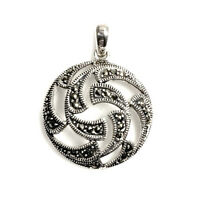 Round Marcasite Pendant Sterling Silver 925 Vintage Style Jewelry Gift 29 Mm