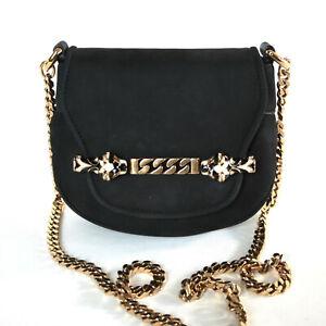 e2cc1ba5983 GUCCI black nubuck Tigerette bag gold chain strap suede leather ...