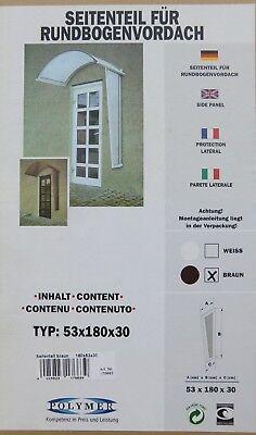Vordächer Baustoffe & Holz Besorgt Polymer Seitenteil Für Rundbogenvordach Braun 180 X 53 X 30 Cm Vordach 170663 Heller Glanz