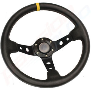BLACK-DEEP-DISH-DRIFTING-TRACK-CAR-STEERING-WHEEL-RACE-SPORTS-DRIFT-LEATHER-EFF