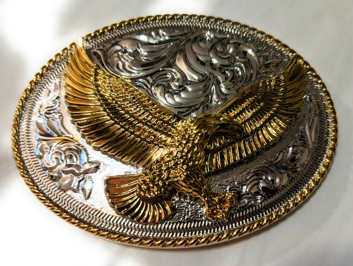 ✖ HQ WESTERN EAGLE Cowboy Rodeo Style Belt Buckle Heritage Gold silver plated US