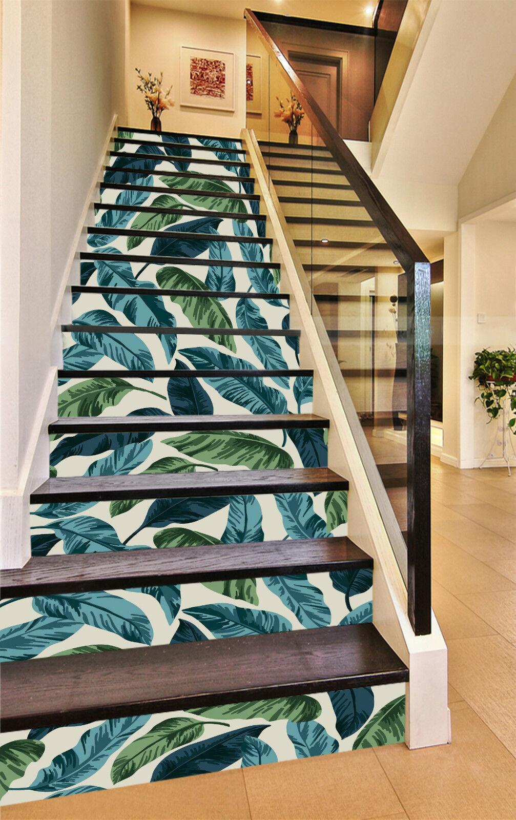 3D green Blatt 975 Stair Risers Dekoration Fototapete Vinyl Aufkleber Tapete DE